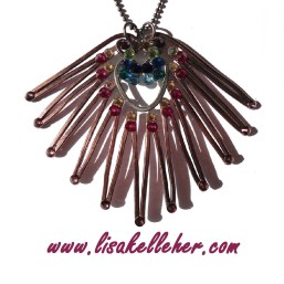 Peacock Feather Necklace Bronze and Charcoal