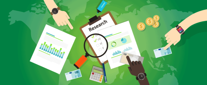Bitcoin research with green back ground with people pointing towards research instruments
