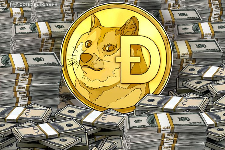doge coin coin on a stack of money