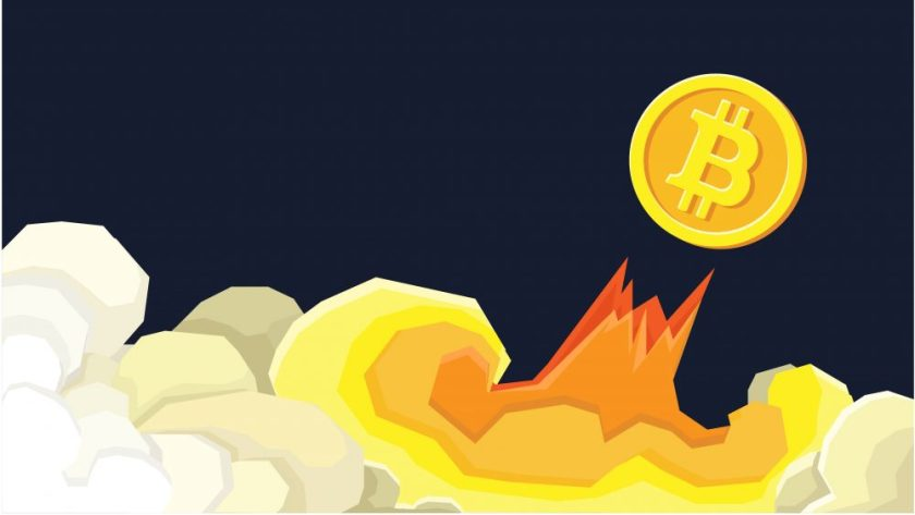 bitcoin as a rocketship image with black background