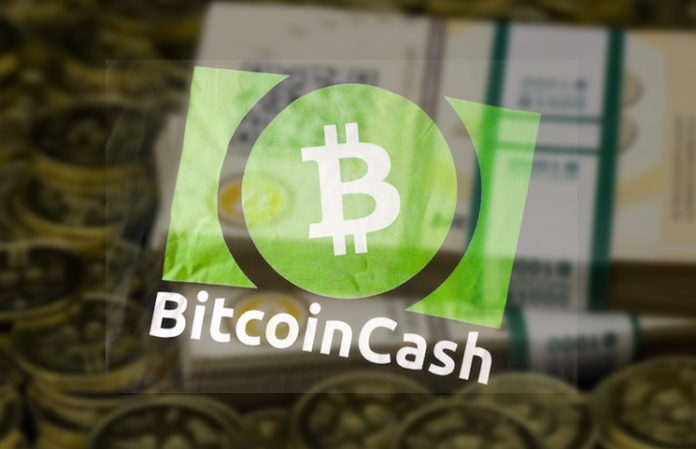 bitcoin cash green sticker in a window with glare of cash and coins