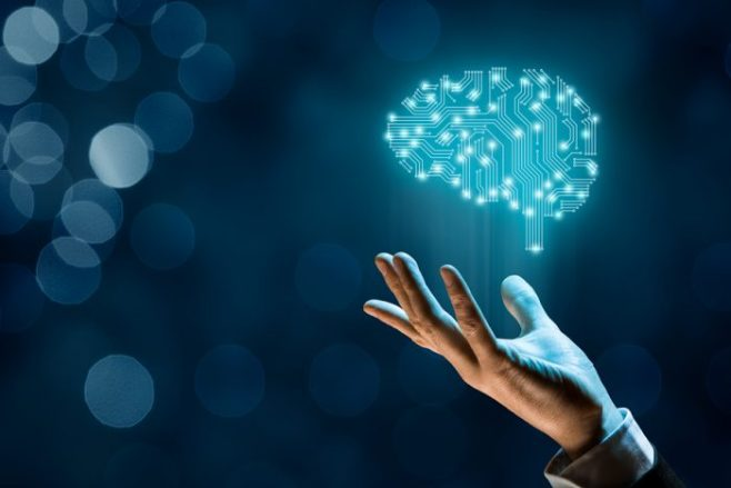 Blue background with man holding a digital brain in his hand