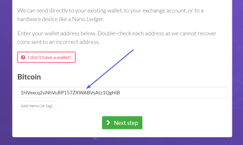 paste address into easy crypto order page screenshot