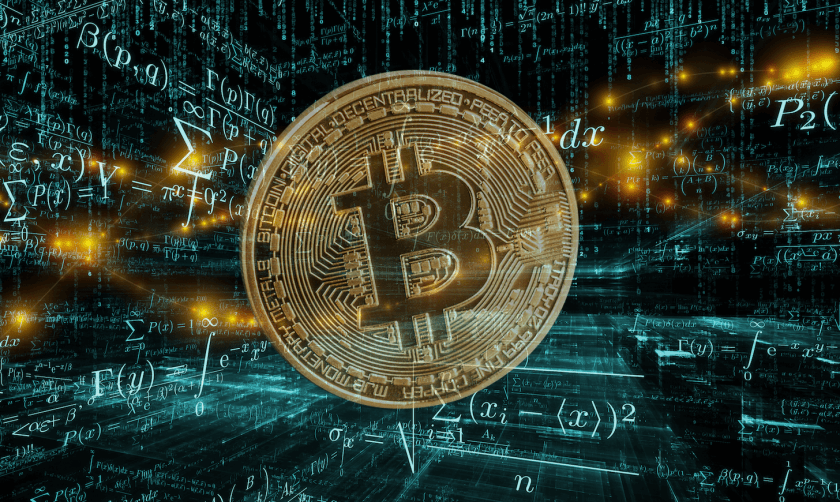bitcoin logo in front of mathematical problems matrix background