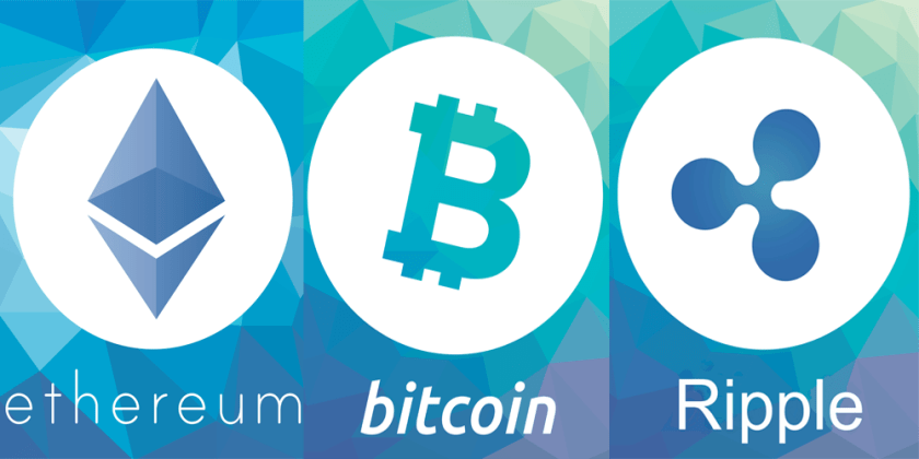 Ethereum Ripple and Bitcoin side by side