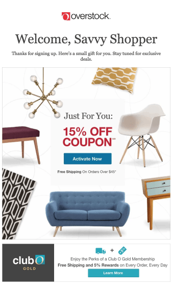 overstock welcome email