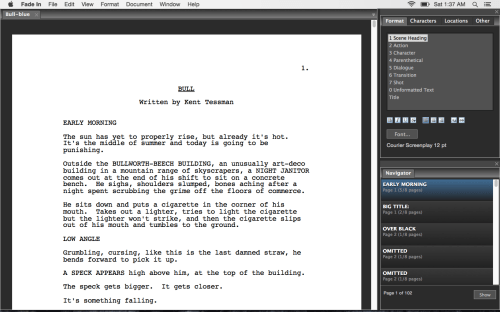 Fade In, a type of free screenwriting software
