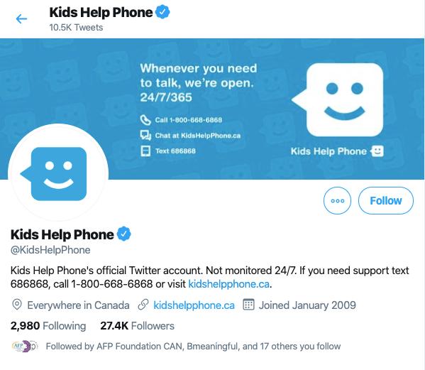 kids help phone twitter