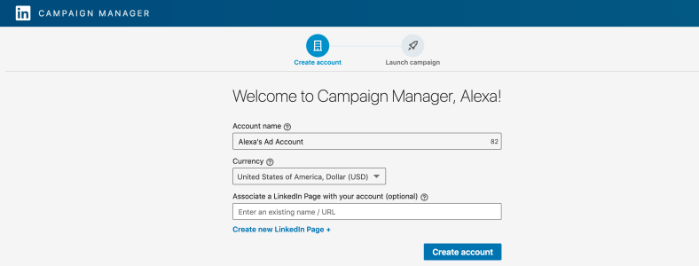 screenshot of the linkedin campaign manager