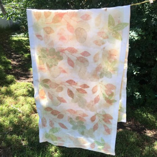 Bobbi Stowers: Rose, passion vine and eucalyptus on cotton prepared with soy