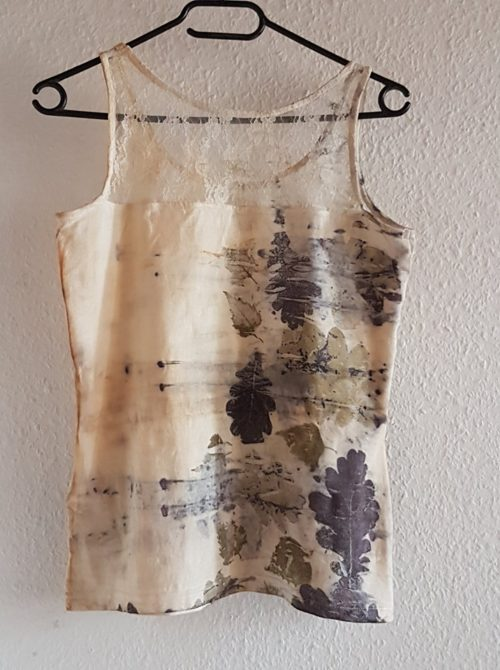 Kat Szabo: Oak and birch leaves on cotton