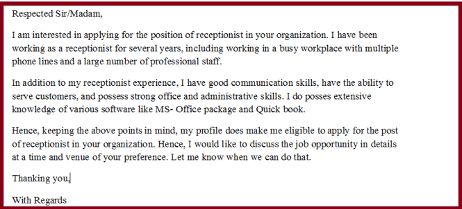 Best Ideas Of How To Write A Cover Letter For Receptionist Position With No Experience In Template