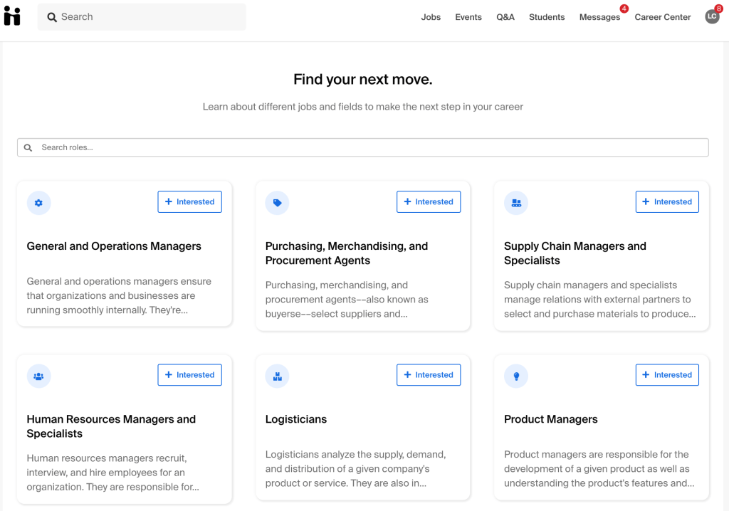 Career paths landing page