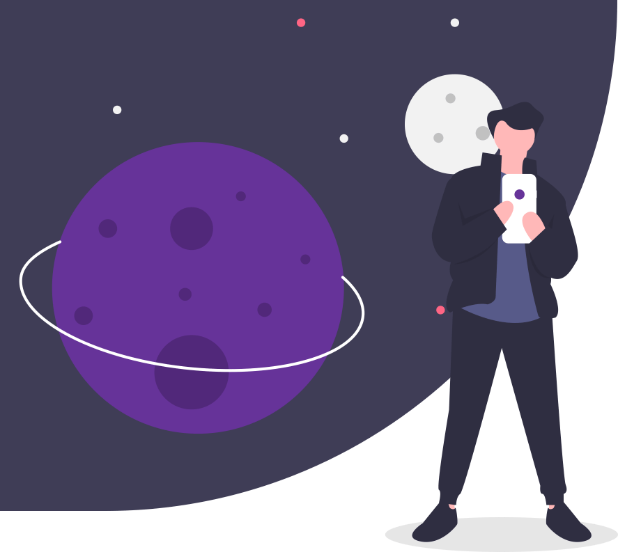 Man looking at his phone with a space background illustrating being lost online