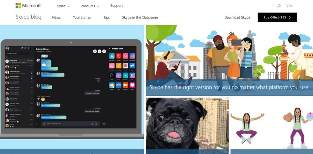 Skype's blog was developed using WordPress.org