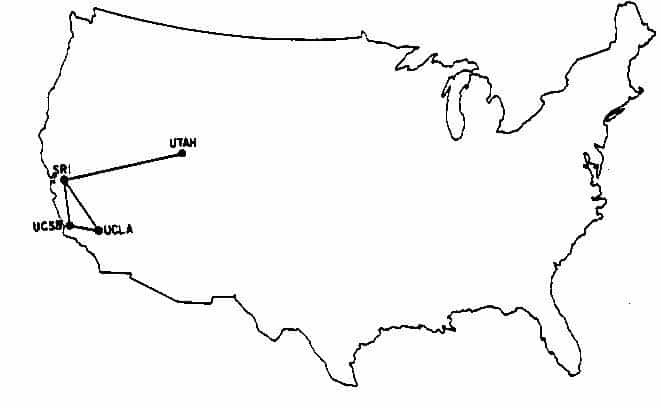 In 1969, there were only four computers (aka nodes) connected on the internet