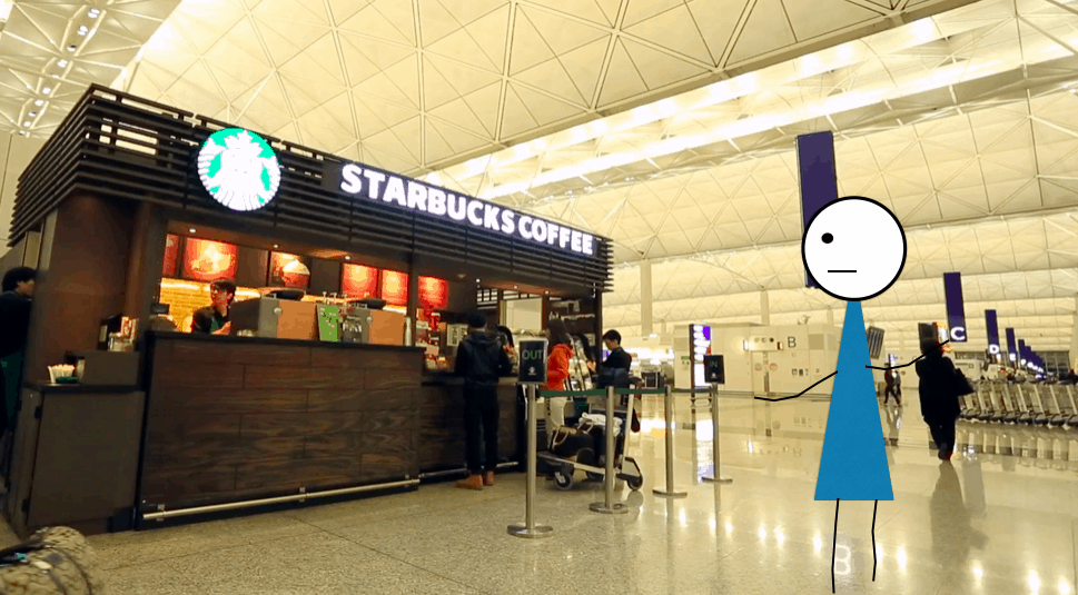 An image of me at Starbucks in the Hong Kong Airport. Can I say I've been to Hong Kong now?