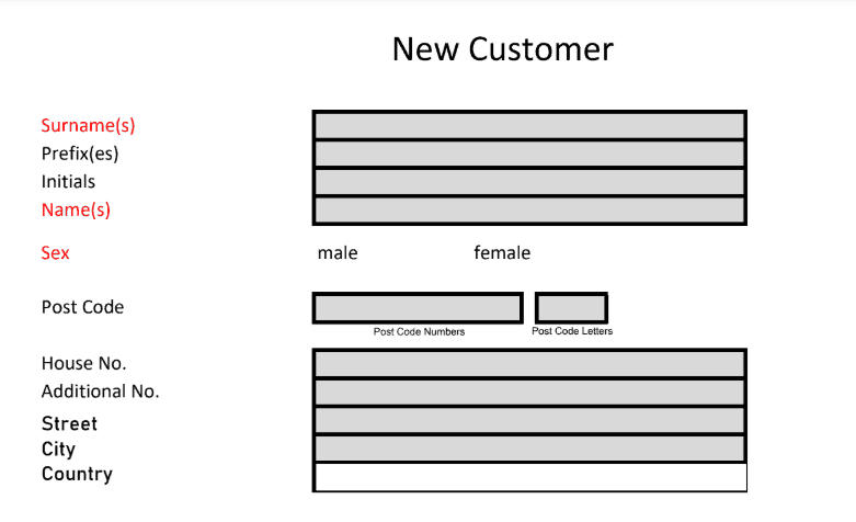 The New Customer Form Example