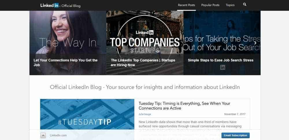 LinkedIN blog uses WordPress