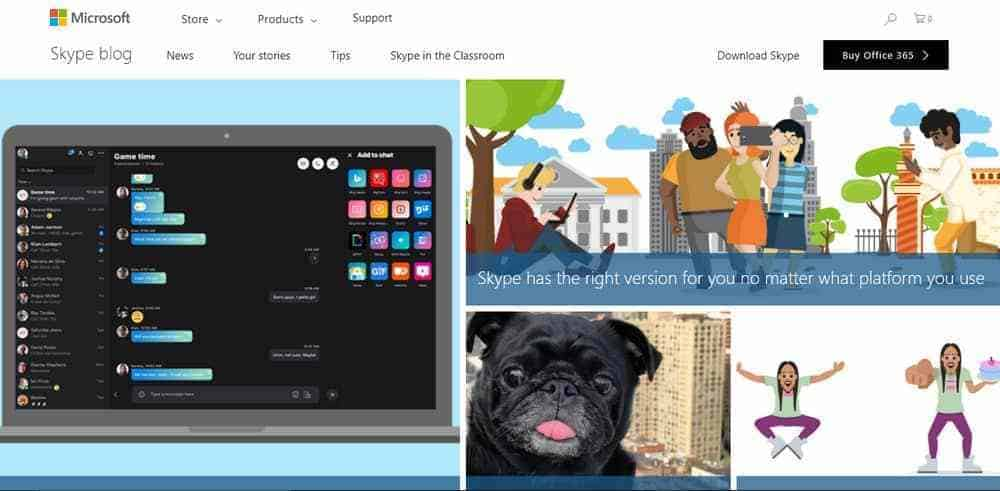 Skype blog uses WordPress