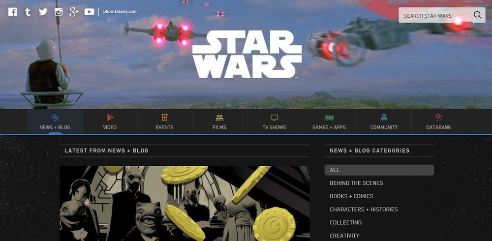 The Starwars blog uses WordPress