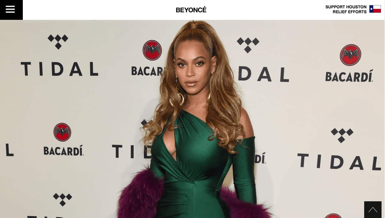 Beyonce uses WordPress