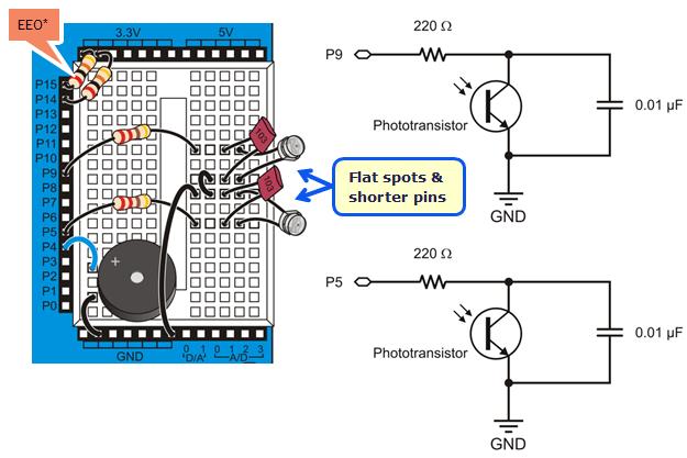 build the light sensor circuits  learnparallax