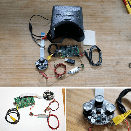 The parts required to make Raspberry PI powered night visiion goggles