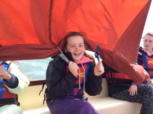 Sailing was great fun.  All the girls got the chance to helm and to crew and enjoy the splash of the ocean spray on their faces!