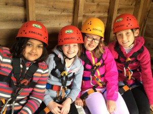 The girls were a bit nervous before the abseiling.