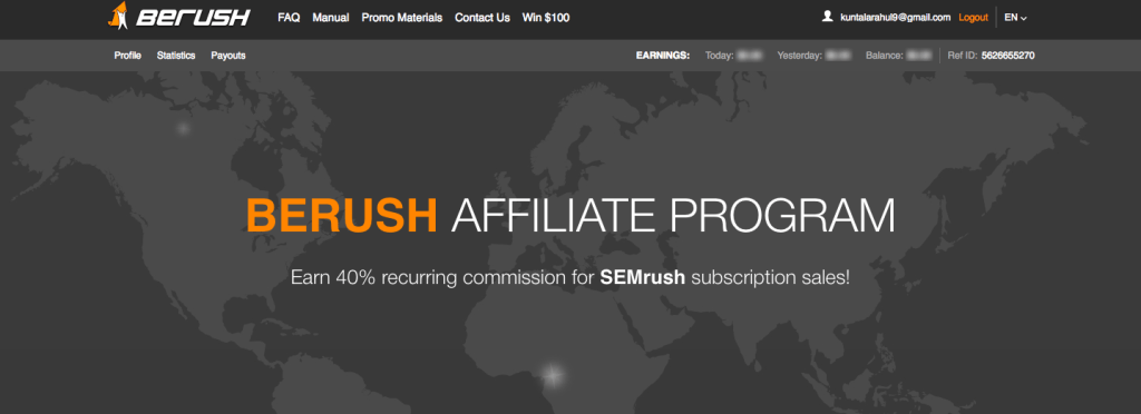 berush affiliate program for bloggers