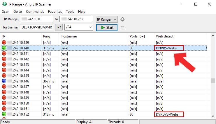 Kết quả máy quét giận dữ IP cho DVR Hikvision