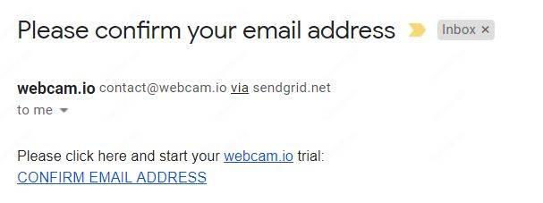 Xác nhận email IO WebCam
