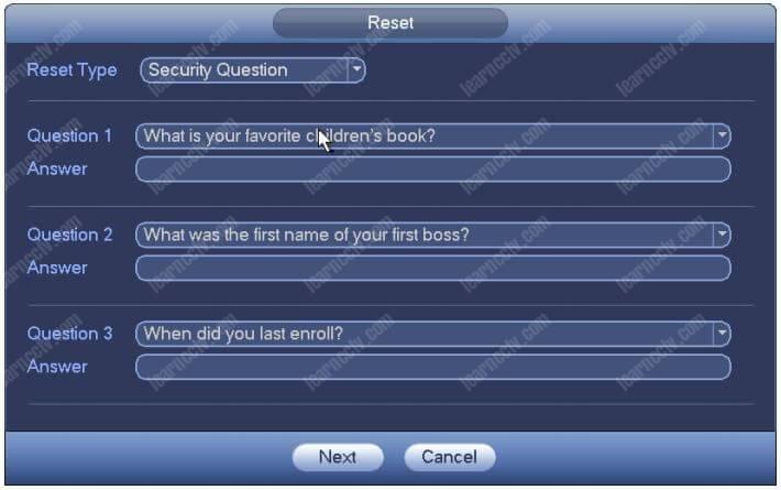 Câu hỏi về Bảo mật Mật khẩu Đặt lại Dahua NVR