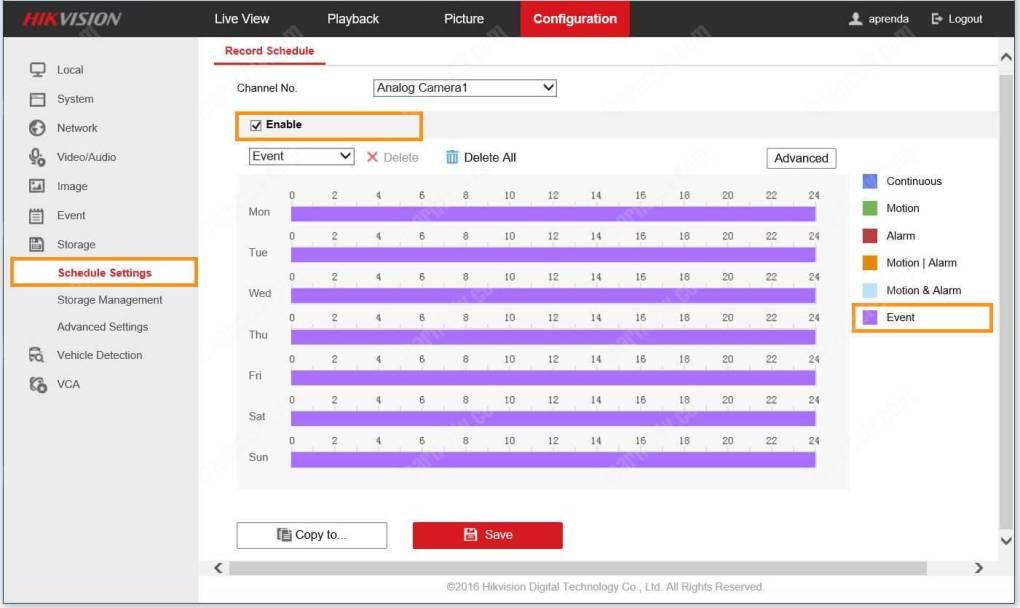 Sự kiện cài đặt lịch trình cấu hình DVR Hikvision