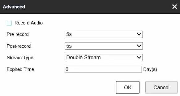 Thiết lập lịch trình lưu trữ cấu hình DVR Hikvision Loại luồng