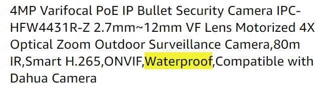 Camera an ninh ngoài trời chống thấm nước Dahua