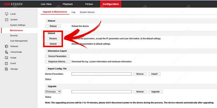 Cách đặt lại Camera Hikvision qua- Trình duyệt web