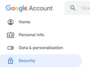 Menu Tài khoản Google
