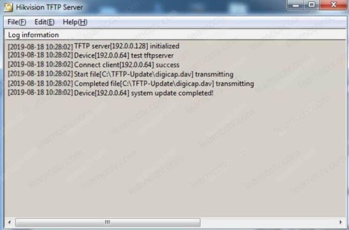 Quá trình truyền Máy chủ Hikvision TFTP hoàn tất