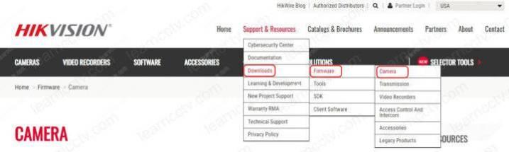 Trang web Hikvision Tải xuống chương trình cơ sở cho camera