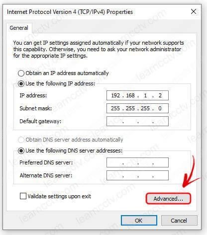 Thuộc tính Windows Ethernet nâng cao