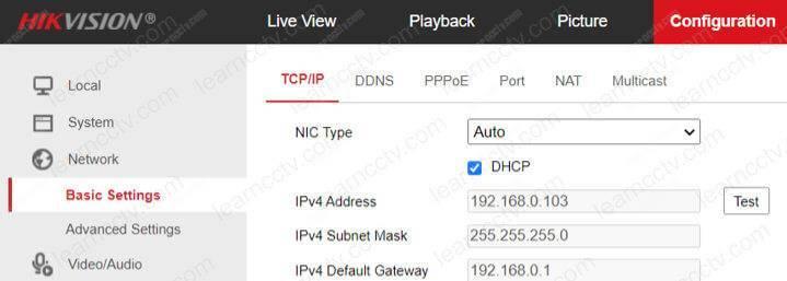 Menu DHCP của Camera Hikvision