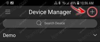 Nút Thêm Trình quản lý Thiết bị gDMSS Lite