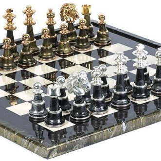 high end chessboard, luxury chessboard, Bello Games Collezioni - Mancini Luxury Chess Set 24K Gold:Silver Plated from Italy