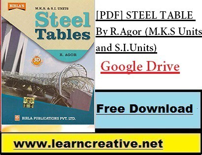 [PDF] STEEL TABLE By R.Agor (M.K.S Units and S.I.Units)