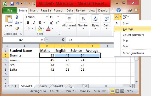 Excel-formulas-Average