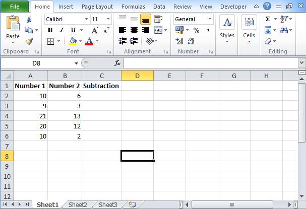 Excel Subtraction Formula