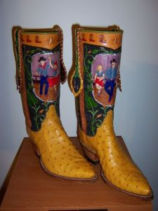 Hand-tooled boots made in collaboration with Jim Covington of Covington Boots