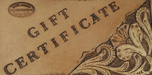 Leather Gift Certificate, Learned Custom LeatherLeather Gift Certificate, Learned Custom Leather